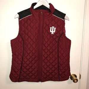 Womens Red & Black Quilted Indiana University Vest